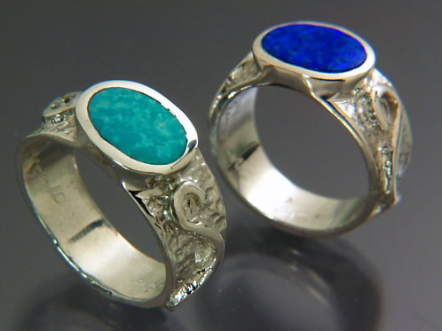 Sterling Silver Ring with Dark Blue Opal