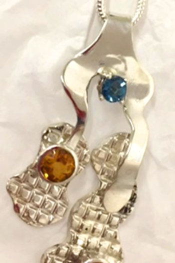 Sterling Silver Pendant with Citrines and BlueTopaz