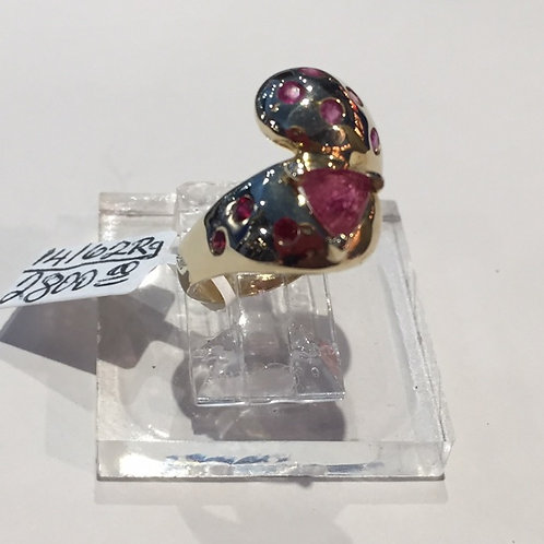 Tri-Rubelite Gold Ring with red sapphires and rubies