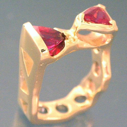14K Gold Ring with 2 Trillion Pink Tourmalines