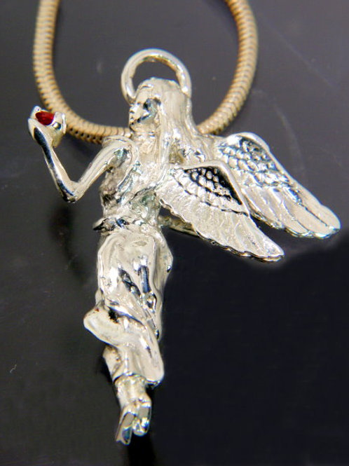 Sterling Silver Angel Pendant holding Pink Pearl