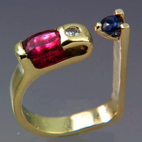 Rubelite, Blue Sapphire and Diamond