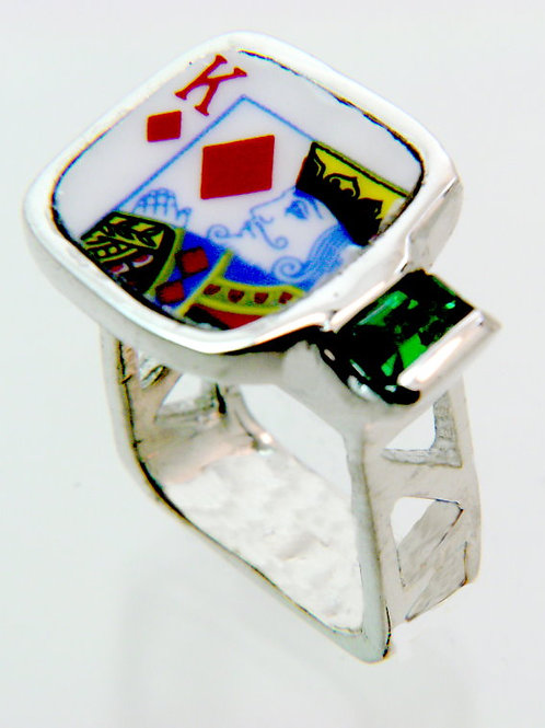 Sterling Silver, Bone China Topper with King of Diamonds, Hydro Thermal Emerald