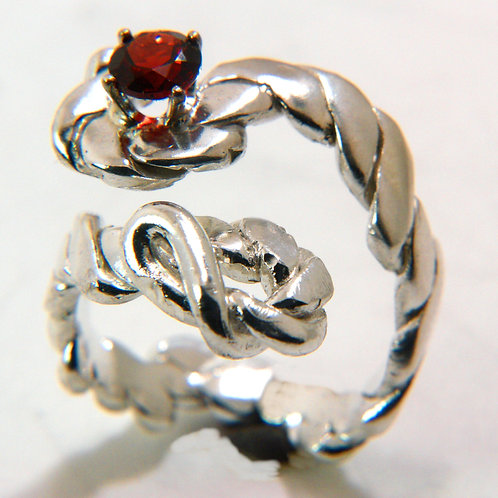 S Shape Sterling Silver Braided Design Ring with Garnet