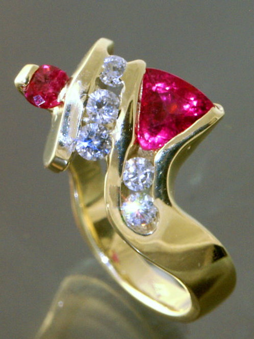 Tri Rubelitewith red sapphire and 5 diamonds
