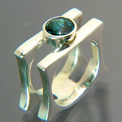 Sterling Silver ring with open double band and London Blue Topaz