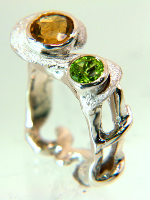 Sterling Silver Ring with Citrine and Peridot