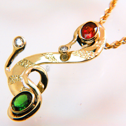 Gold Pendant with Diamonds, Garnet, Chrome Diopside