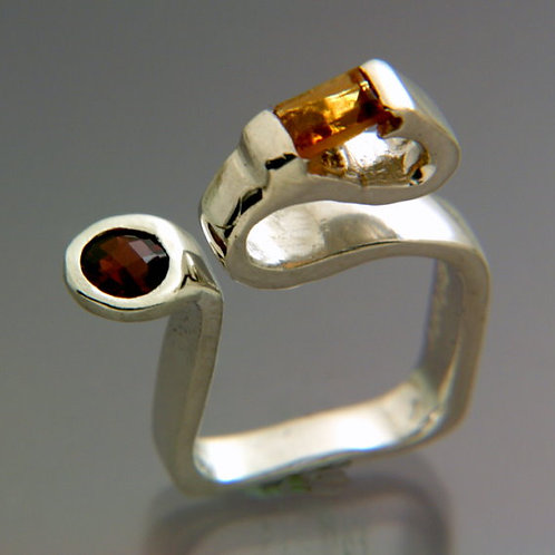 SterlingSilver ring with rectangular Citrine