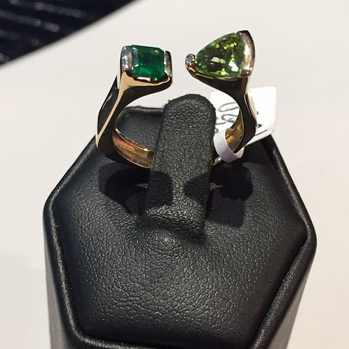Gold Colombian Emerald and Peridot Ring