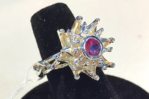 Pink Tourmaline Sterling Silver ring withflower/leaf pattern