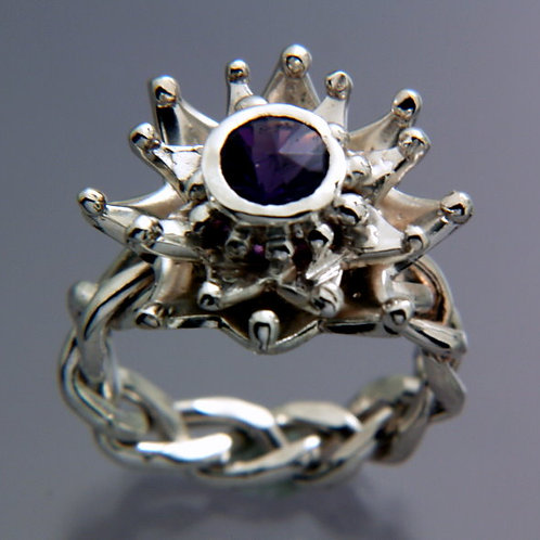 Amethyst Sterling Silver ring with flower/leaf pattern