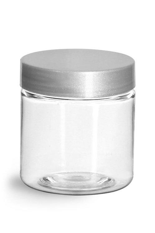 0604-18  Tarro Plastico PET 120gr C/Tapa Plastica Silver Pack: 19 Pzas
