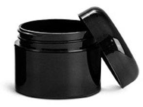 0663-04 Tarro plastico Doble Pared Negro C/Tapa Paq 48Pzas