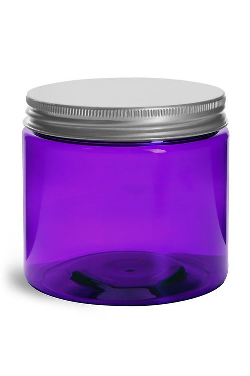 0066-16 Tarro Plastico Purpura C/Tapa Alum  Pack 7 Pzas.