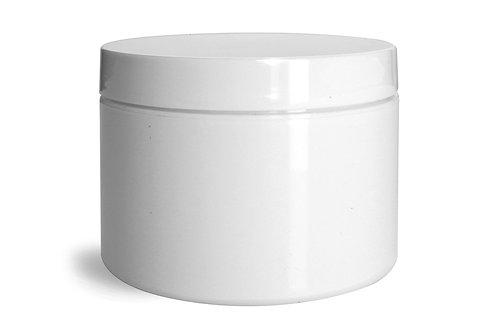 0662-16 Tarro plastico Doble Pared 240 gr C/Tapa Paq.18 Pzas
