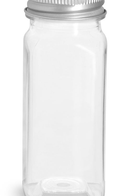 0059-03 Envase PET Cuadrado 120gr C/Tapa Aluminio Paq. 22 Pzas