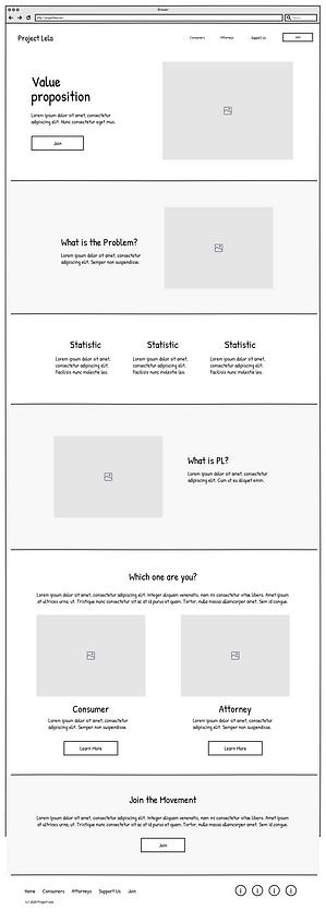 Project Lela home screen, low-fidelity