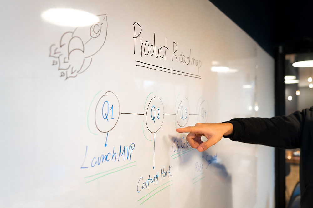 Person pointing to text on a white board