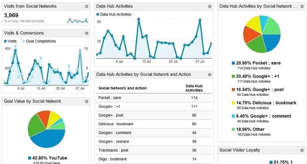 Google Analytics chart with line graphs and pie charts