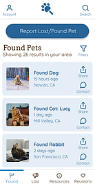 Paw Prints Home/Found Screen