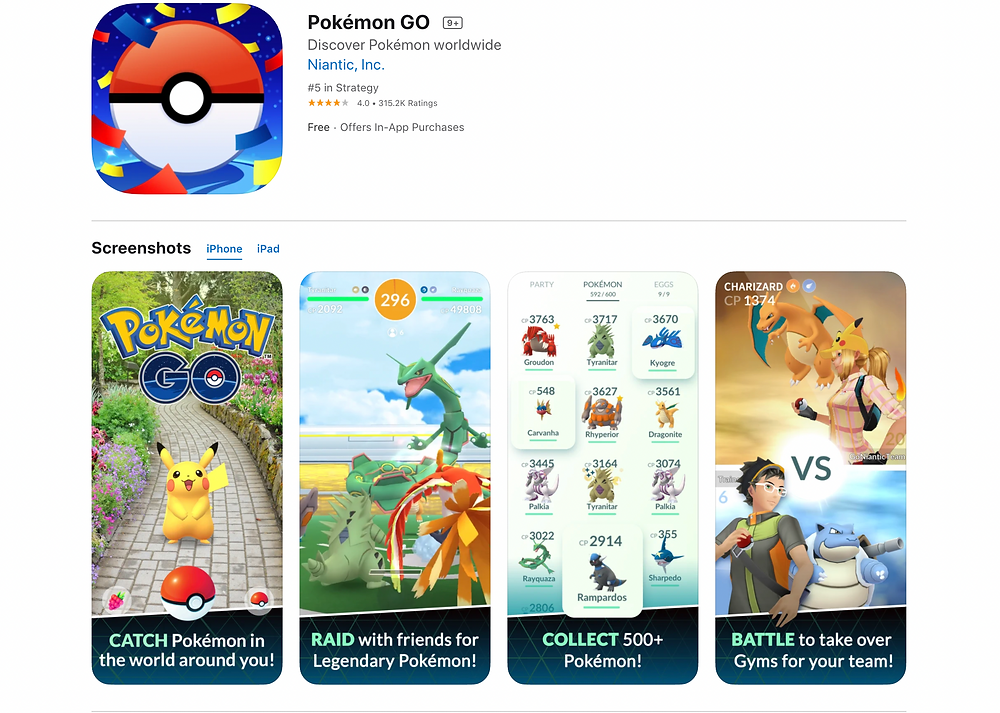 Pokemon Go App Store page