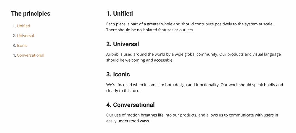 List of Airbnb's Design Principles