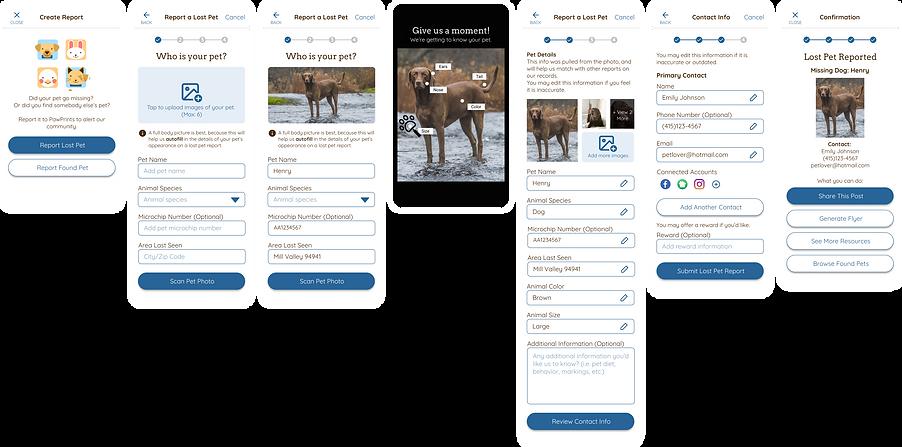 Lost pet report screens