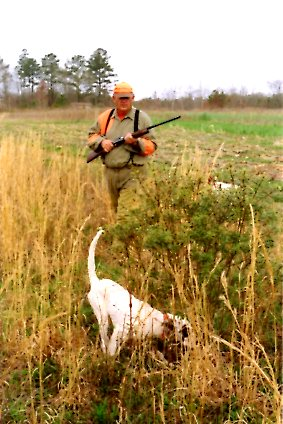 hunter with English Setter on point