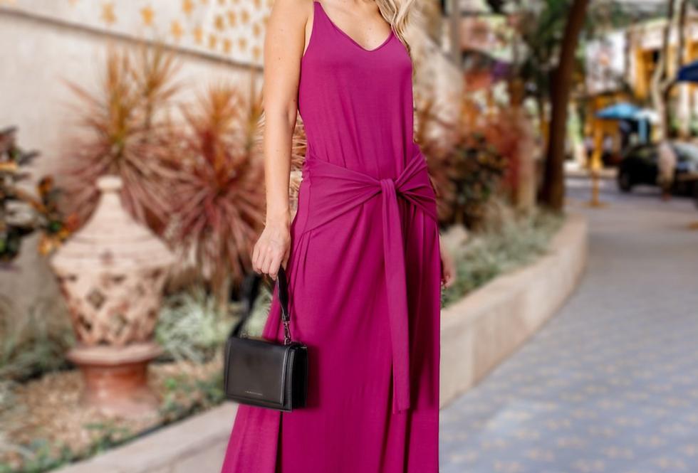 Vestido Faixa Vinho