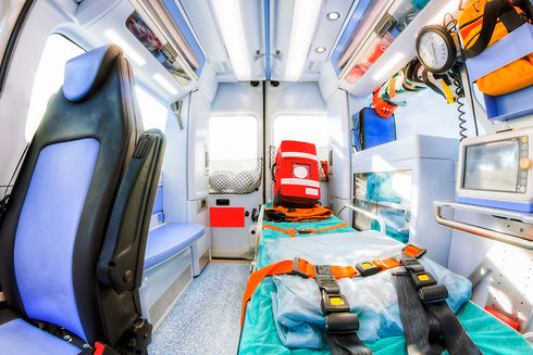 Inside the ambulance, view from the sani