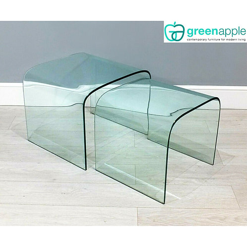 Heavy Minimalist Greenapple Arc Pure Glass Nest Of Two Coffee/Side Tables