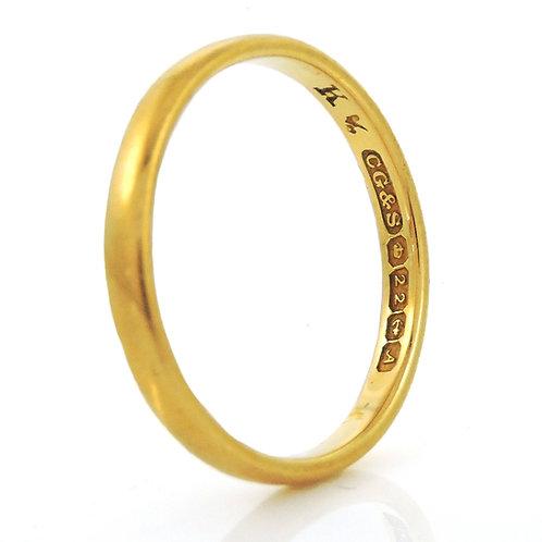 Excellent Vintage 22ct gold Wedding Ring - Size M - 2.7g - Birmingham 1975