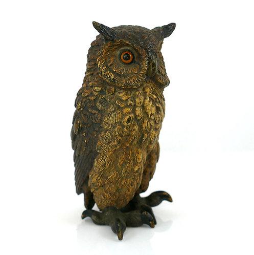 """Austrian Cold Painted Bronze Model of an Owl - stamped GESCHUTZT- 4"""""""