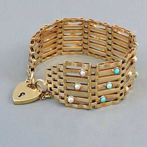 Stunning 1960's 9ct Gold Gate Bracelet with Seed Pearls and Turquoise – 27.2g