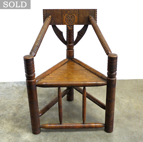 Heavy Antique Oak Carved & Turned Three Legged Chair
