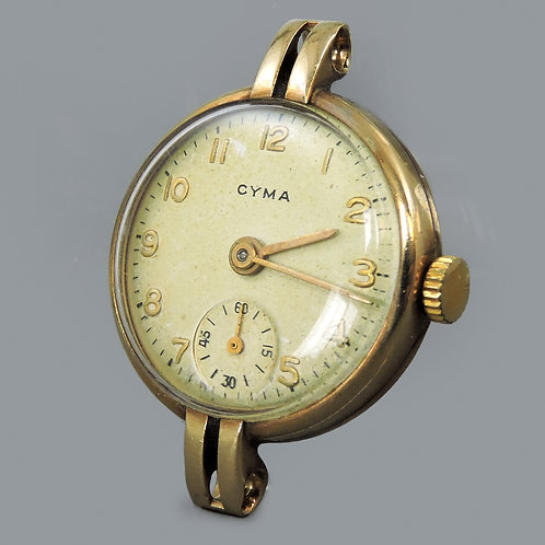 Ladies 9ct Gold Cased Cyma Wristwatch, Running Well, No Strap
