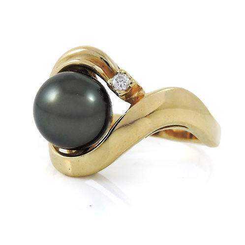 Stunning 14K Yellow Gold 9.5mm South Sea BLACK Pearl & Diamond Ring