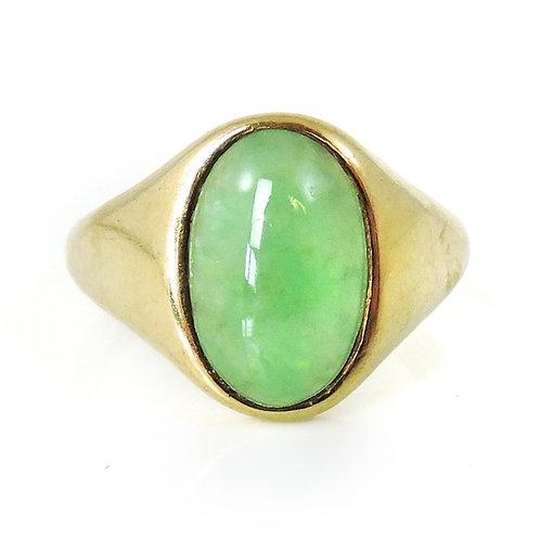 Mens 9ct Gold Signet Ring Set with Green Hardstone Cabochon - Size Q - R - 6.1g