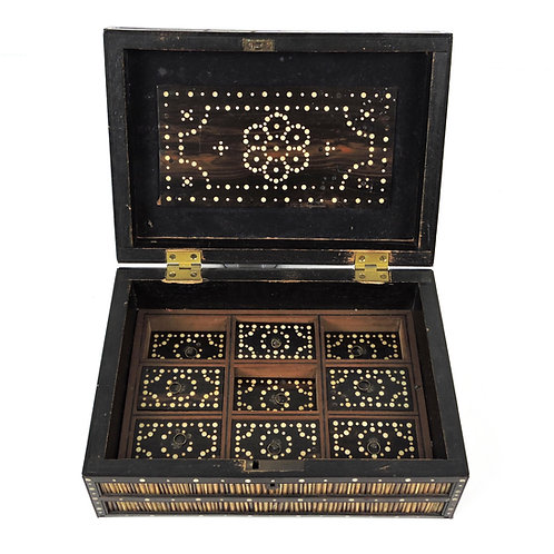 Antique 19th C. Ceylonese Porcupine Quill & Ebony Wood Box with 9 Compartments