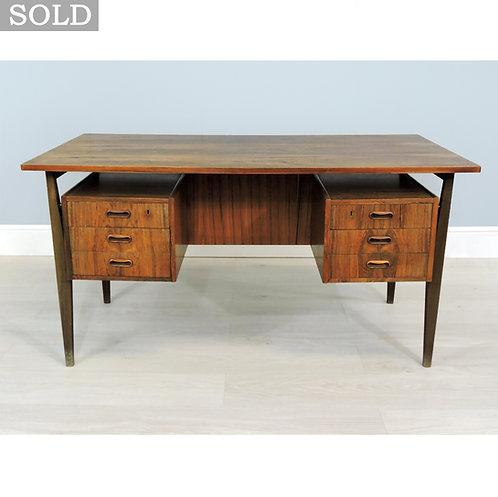 1960's Retro Danish Walnut Kneehole Office Desk