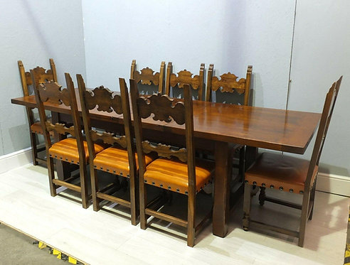 Impressive Vintage Solid Oak Refectory Dining Table And 8 Matching Dining Chairs