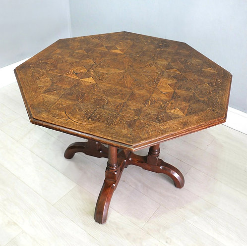 Antique Oak Octagonal Table with Detailed Parquetry by James Shoolbred