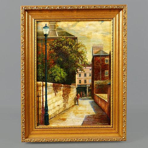 Original Oil on Board Painting - Bath Alleyway Scene - Nice Frame