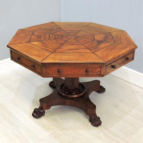 Rare Victorian Mahogany Octagonal Centre Rent Table
