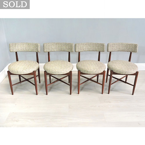 Set of Four Retro G Plan Fresco Mid Century Teak Upholstered Dining Chairs