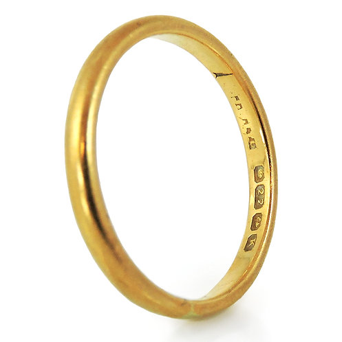 Antique 22ct Gold Wedding Band, 2.8g, Size N