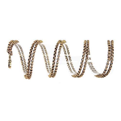 9ct Rose Gold Victorian Muff Guard Belcher Chain Weighs 37.5g Marked 9c