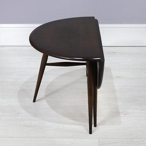 Vintage Ercol 308 Dark Elm Drop Leaf Coffee Table - 1960's Half Moon