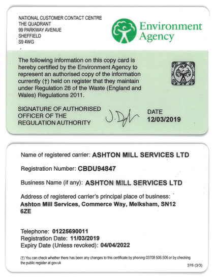 Environment Agency card - Responsible recyling and waste disposal